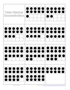 Numbers 10-20 Concentration (Teen Numbers)