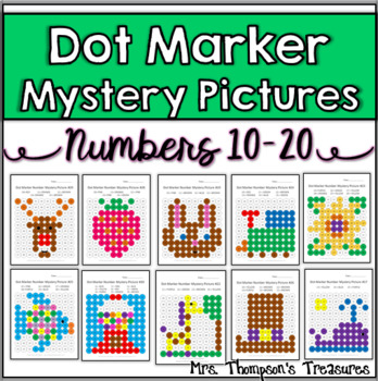 Numbers 10-20 Dot Marker Mystery Picture Activities
