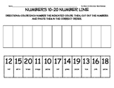 Numbers 10-20 Number Line Cut and Paste