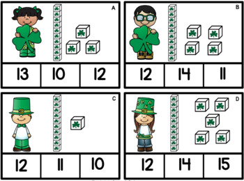 Numbers 10 - 20  St. Patrick's Day  Task Cards  Grade K