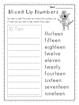 Numbers 10 - 20 worksheet - Writing & ordering numbers by Little ...
