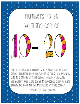 Numbers 10-20 writing center