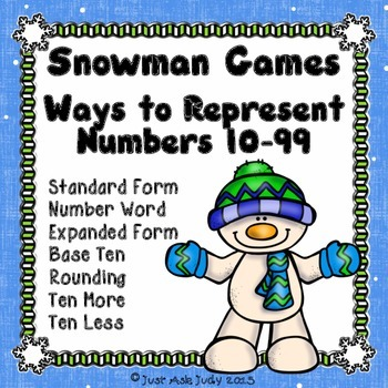Place Value Games Ways To Represent Numbers 10 99 Snowman Theme Tpt