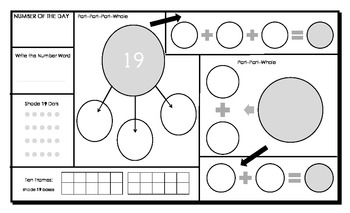 Numbers 10 to 20: Graphic Organizer: Numeracy Mats for Number of the Day
