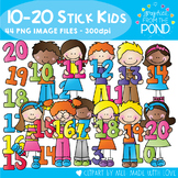 Numbers 10 to 20 Stick Kids - Clipart for Teaching