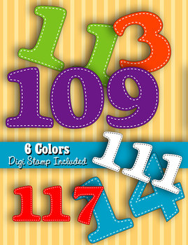 Numbers 100-120 • 6 Bright Color Sets • PDFs and PNGs • 300 DPI• Plus Digistamp