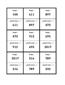 Numbers 100 and over in Spanish Tengo Quién tiene
