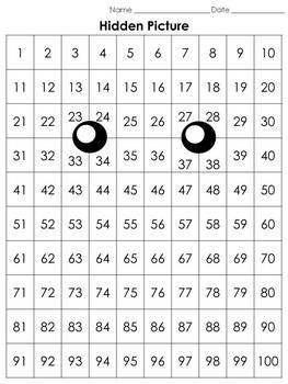 Numbers: 100s Chart Hidden Picture Activity - Spring Bee - King Virtue