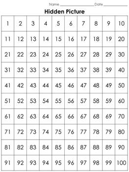 White-tailed Deer 100s Chart Hidden Picture Activity - Numbers - King Virtue
