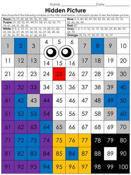 Numbers: 100s Chart Hidden Picture Activity - Halloween Ghost #1 Boo