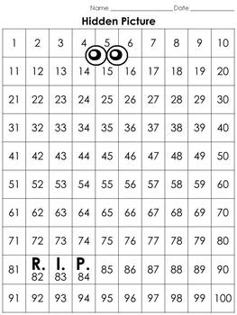 Numbers: 100s Chart Hidden Picture Activity - Halloween Ghost #2 R.I.P.