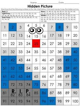 Numbers: 100s Chart Hidden Picture Activity - Halloween Gh