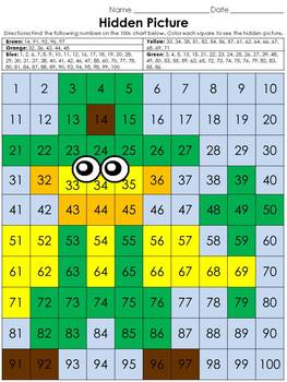 Numbers: 100s Chart Hidden Picture Activity - St. Patrick'