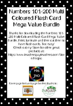 Numbers 101-200 Multi Coloured Flash Card Mega Value Bundle
