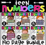 Teen Numbers Bundle 11-20 No Prep Printables for Kindergarten