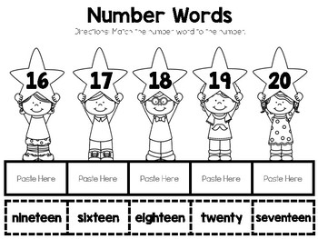 Numbers 11-20 Color, Cut, and Paste Math Journal for Special Education