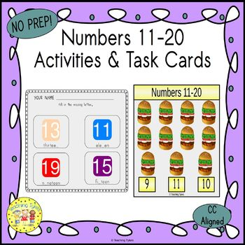 Numbers 11-20 Count and Clip Task Cards