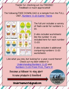 Numbers 11-20 Easter Theme *SAMPLE FROM FULL PRODUCT*