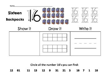 Numbers 11-20 Focus Worksheets, CRA Supported, CCSS aligned