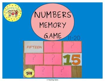Numbers 11-20 Memory Game