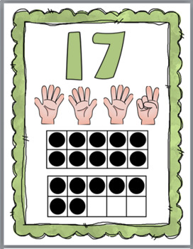 Ten Frame Number Posters with Counting Fingers (Finger Counting) - Numbers 11-20