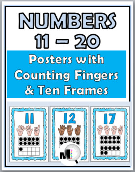 Ten Frames Number Posters with Counting Fingers (Finger Counting) -Numbers 11-20