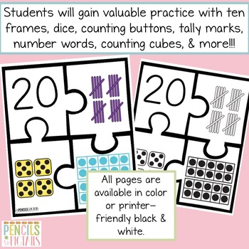 Numbers 11 - 20 Puzzles - Practice Identifying Different Forms & Number Words