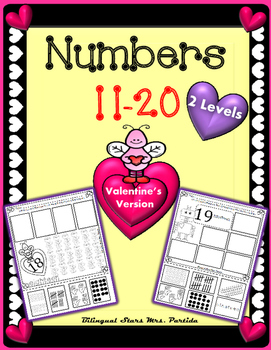 Numbers 11-20 Representing numbers Valentine's VersionBilingualStarsMrs. Partida