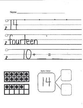 Numbers 11-20 Skills Packet