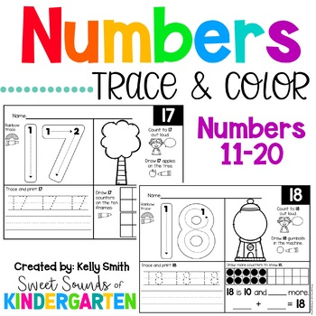 Numbers 11-20 Trace and Count Worksheets
