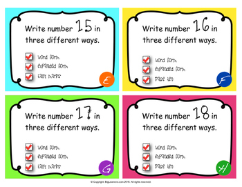Numbers 11-20 : Ways to a Number Task Cards (Place Value)