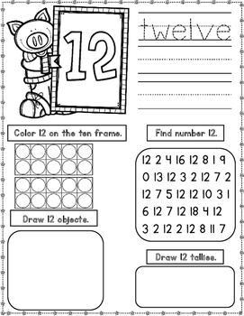 Numbers 11-20 Worksheets