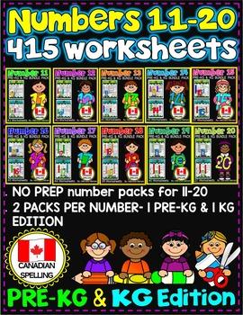 Number Worksheets (11-20)-MATH WORKSHEETS (PRE-KG and KG )  CANADIAN SPELLING