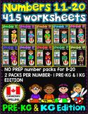 Number Worksheets (11-20)-MATH WORKSHEETS (PRE-KG & KG )  CANADIAN BUNDLE