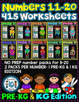 Number Worksheets (11-20)-MATH WORKSHEETS (PRE-KG & KG ) 415 worksheets
