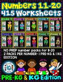 Number Worksheets (11-20)-MATH WORKSHEETS (PRE-KG & KG ) 415 worksheets BUNDLE