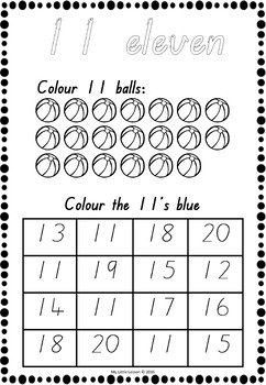 Numbers 11-20 Worksheets QLD Beginners Font