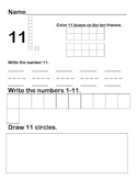 Numbers 11-20 homework sheets