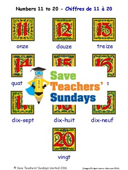 Numbers 11-20 in French Worksheets, Games, Activities and Flash Cards