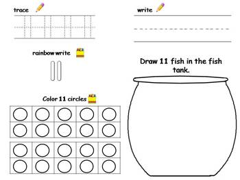 Numbers 11 20 Practice Trace Write Fill In Tens Frame Draw Tpt