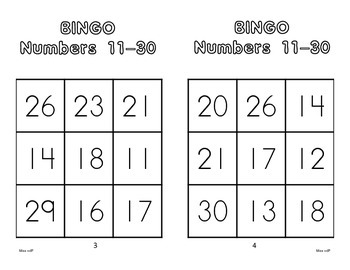 Numbers 11-30 Bingo Game