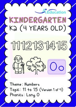 Numbers - 11 to 15 (I): Long O - K2 (4 years old), Kindergarten