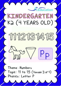 Numbers - 11 to 15 (III): Letter P - K2 (4 years old), Kindergarten