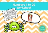 Numbers 11 to 20 Worksheet