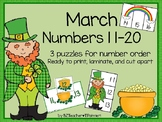 Numbers 11 to 20 for March