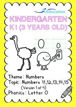 Numbers - 11,12,13,14,15 (I): Letter O - K1 (3 years old), Kindergarten