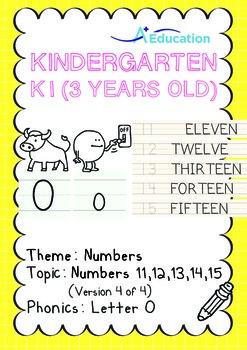 Numbers - 11,12,13,14,15 (IV): Letter O - K1 (3 years old), Kindergarten