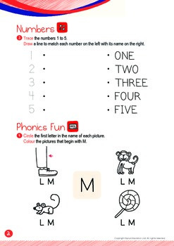 Numbers - 1,2,3,4,5 (III): Letter M - K1 (3 years old), Kindergarten