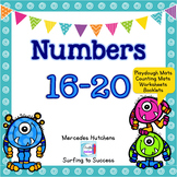 Numbers 16-20 Playdough Mat, Worksheets, Counting Mat, and More