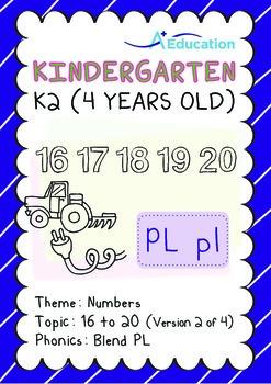 Numbers - 16 to 20 (II): Blend PL - K2 (4 years old), Kindergarten